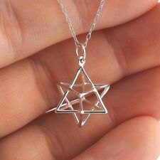 Sacred Geometry 3D Wire Star Charm Necklace 925 Sterling Silver Merkaba Symbol