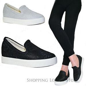 SCARPE Donna Sneakers Slip on Glitter Rialzo INTERNO 5 cm Zeppa Mocassini T78