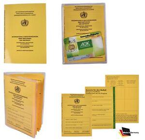 Intern. Impfpass Impfbuch Impfausweis PRO auch Set+ Schutzhülle + Notfallausweis