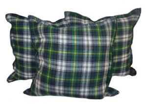 3 Ralph Lauren Dress Gordon Tartan Plaid Decorative Pillows Set Green Blue White