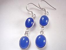 Chalcedony Double-Gem 925 Sterling Silver Dangle Earrings