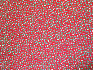 """Vintage red ditzy print rayon faille. 4 3/8 yards @ 39"""" wide"""
