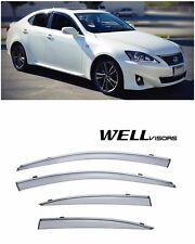 For 06-12 Lexus IS250 IS350 ISF WellVisors Side Window Visors W/ Chrome Trim