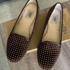 UGG Studd Size 8 Brown Leather Womens Loafer Flats Slip On Shoes