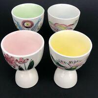 Vintage Mid Century Modern Double Egg Cups Japan Floral Set Pink Floral Painted