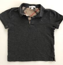 BURBERRY Kids Boys Short Sleeve Polo Shirt Size 7 Y Dark Gray Cotton Top