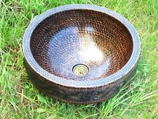 Bathroom Copper Sink Hammered Copper Round with 3 Apron/ Guide design