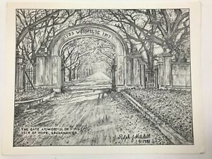 """1981 The Gate At Wormsloe Savannah Etching Signed By Ralph J Mitchell 11""""x8.5"""""""