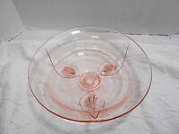 Pink Depression Glass Footed Leaf Serving Fruit Bowl Candy Dish