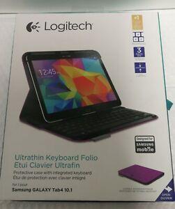 New Logitech Ultrathin Keyboard Folio for Samsung Galaxy Tab 4 10.1 Purple