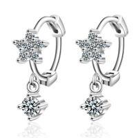 Genuine 925 Sterling Silver Round Cut AAA Zircon Flower Ear Hoop Earrings