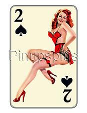 Pinup Girl Decal Waterslide Sticker Redheaded 2 of Spades Gambling S748