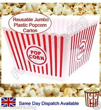 Jumbo Reusable Plastic Novelty Popcorn Carton Box Container Movie Party Snacks