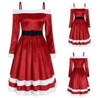 Women Velvet Santa Claus Off The Shoulder Dress Xmas Party Evening Costume Belt