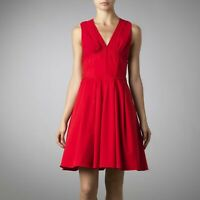 Ted Baker 'CISSIE' Red Dress Silk/Cotton Full Skirt Basque Waist Size 2 UK 10