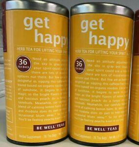 2 Pack Be Well Teas Get Happy 36 Tea Bags BB 03/2022