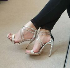 River island Metallic Silver Strappy Sexy High Heels sandals UK 5 WORN ONCE
