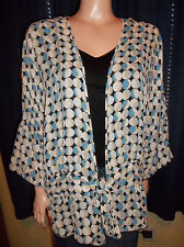 EMMA JAMES 3/4 SLEEVE OPEN FRONT GEOMETRIC SHIRT SIZE 12 TIES AT THE WAIST NEW