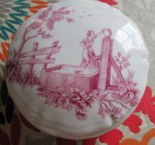 Jolie boite Porcelaine de Limoges décor champêtre parfait état 11 cm diamètre