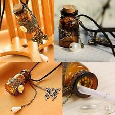 Vintage Butterfly Flower Pendant Wishing Glass Bottle Leather Necklace gift