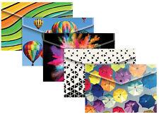 Paquete De 5 Surtido de diseño de moda A4 Cartera de Documentos de plástico Stud carpeta 301647