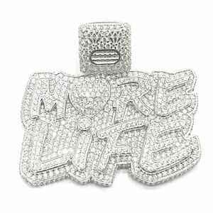 """925 Sterling Silver Ice Jewlz Gold Finish Icey Shiny """"More Life """"Pendant ONLY"""