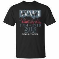 World War One WW1 WWI 100 Years Anniversary Black T-Shirt Mens S 3XL