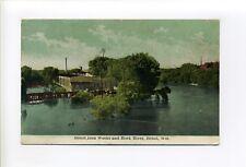 Beloit WI Wis Rock County Iron Works, Rock River, antique postcard