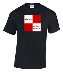 Warning Limited Patience Printed Humour Railway Sign T-Shirt