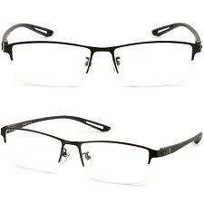 Leicht Halbrand Herren Brille Gestell Titan Rechteckig Brillenfassung Schwarz