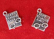 """5pc """"Best teacher ever"""" charms in antique silver style (BC1069)"""