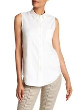 $245 NWT Theory Women's Sleeveless Front Pocket Linen Blouse Shirt Ivory Small S