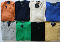 $98 NWT Mens Polo Ralph Lauren V-neck 100% Pima Cotton Sweater 15+ Colors
