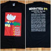 Vtg Original Deadstock 90s Woodstock Concert Band Lineup T SHIRT 1994 Mens XL