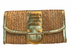 Straw Clutch Purse Handbag Gold-Trimmed New with Tag Gift with Purchase