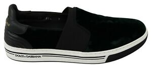 DOLCE & GABBANA Shoes Sneakers Green Velvet Leather Casual Mens s. EU41 / US8
