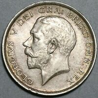 1918 George V 1/2 Crown AU Great Britain Sterling Silver Coin (20082101C)