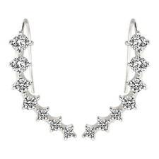 Crawler Sterling long Silver Stud Earrings 7 Crystals Ear Cuffs Hoop Climber