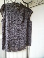M & S smart office black spotted satin feel short sleeved blouse size 20