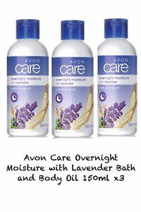 Avon Care Overnight Moisture with Lavender Bath and Body Oil 150ml X3