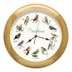 "Audubon Society Singing Bird Hanging Wall Sound Clock, Oak Wood Frame, 13"""