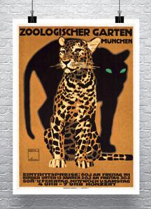Leopard Zoologischer Garten Vintage Zoo Poster Fine Art Print on Canvas or Paper