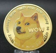 Dogecoin DOGE WOW Coin 24K Gold Plated Crypto currency Novelty Coin