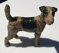 20TH C ANTIQUE HUBLEY WIRE HAIR FOX TERRIER CAST IRON DOORSTOP / COIN BANK