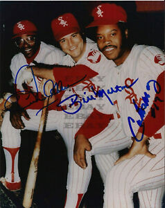 Dick Allen, Bill Melton, & Carlos May Red Ssigned 8x10 autographed photo Reprint