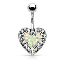 White Jeweled Opal Heart Belly Button Ring Bokeh Glitter Navel Body Piercing