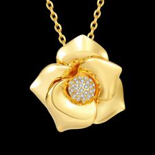 Elegent 18k 18ct Yellow/Rose Gold Filled Flora Crystals Pendant Necklace N-A709