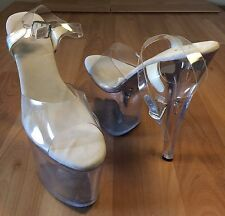 "ELLIE PLATFORM 8"" HEELS 12 CLEAR ANKLE STRAP STILETTO POLE DANCER STRIPPER SHOES"