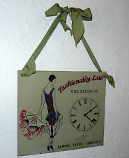 """VINTAGE FASHIONABLY LATE METAL SIGN NOT A WORKING CLOCK 12"""" X 10"""""""