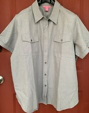 NWOT Woman Within Gray Thick Cotton Button Blouse Shirt Plus Top Size 1X 22/24